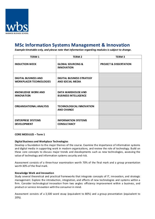 MSc Information Systems Management & Innovation Example timetable only, and please note that information regarding modules...