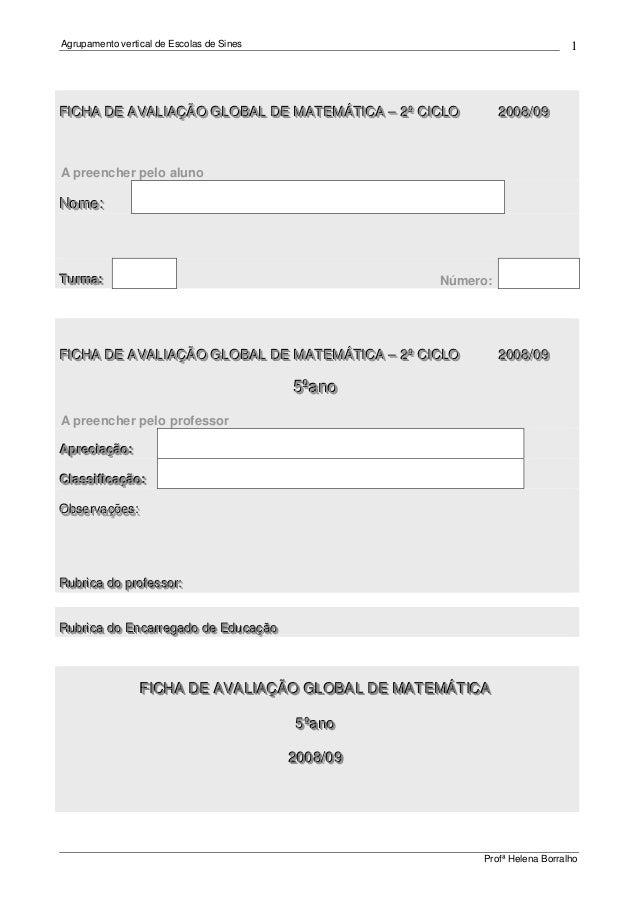 Agrupamento vertical de Escolas de Sines Profª Helena Borralho 1 FFFIIICCCHHHAAA DDDEEE AAAVVVAAALLLIIIAAAÇÇÇÃÃÃOOO GGGLLL...
