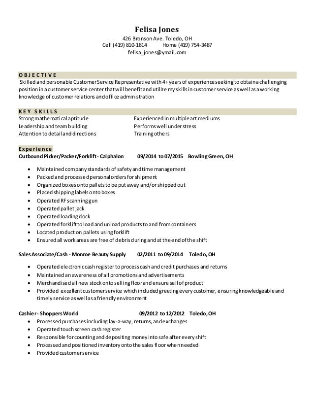Resume For Warehouse Packer