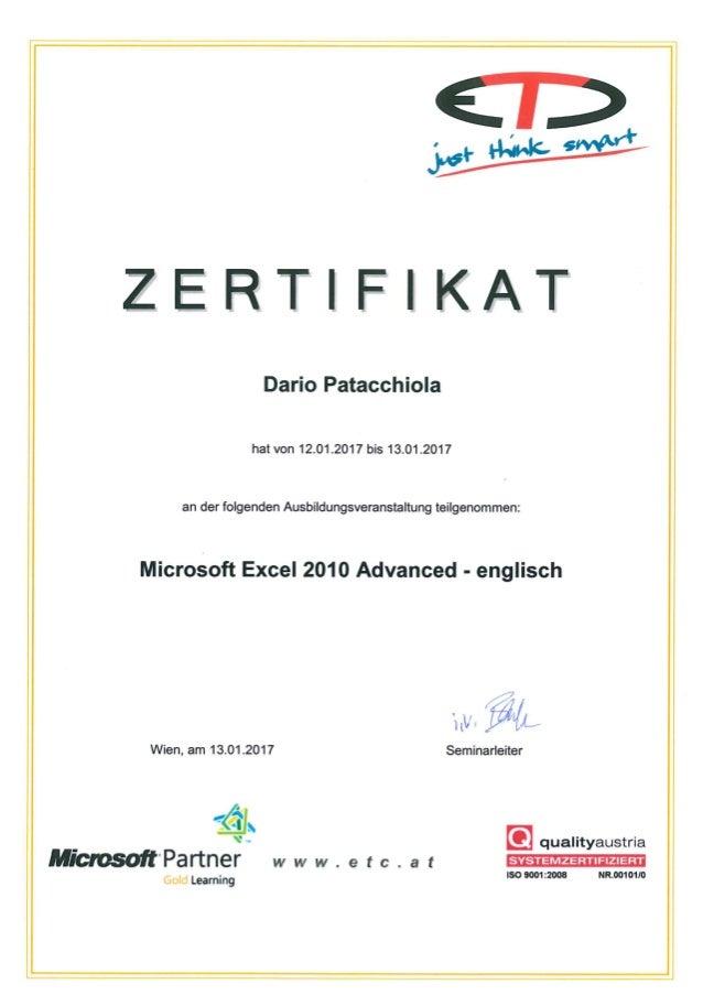 Microsoft Excel 2010 Certificate