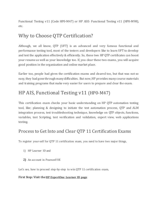 Guide To Qtp Certification
