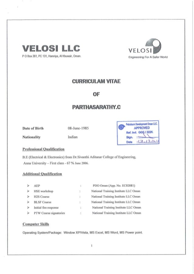 PDO APPROVED CV OF PARTHASARATHY QCI- ELECTRICAL