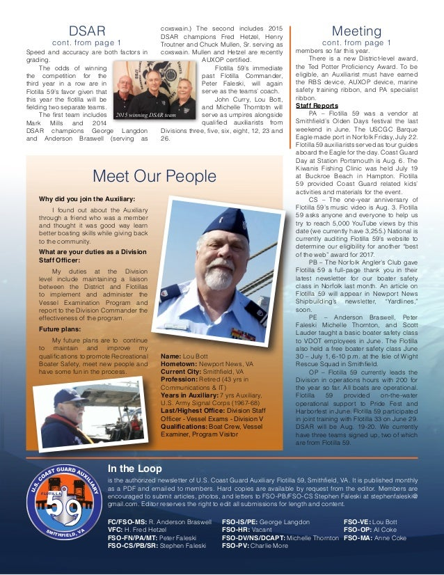 S M ITHFIELD, V A FLOTILLA SMITHFIELD, VA DSAR cont. from page 1 Meeting cont. from page 1 In the Loop is the authorized n...