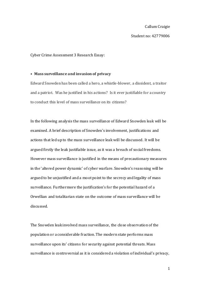 final copy cyber crime research essay 1 callum craigie student no 42779006 cyber crime assessment 3 research essay • mass