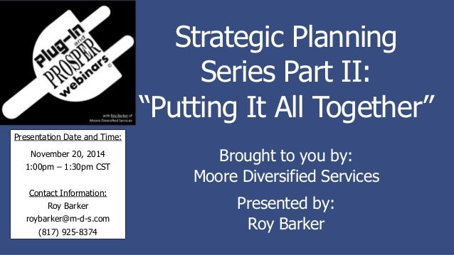 Strategic Plan Part I: Conceptualizing in Business