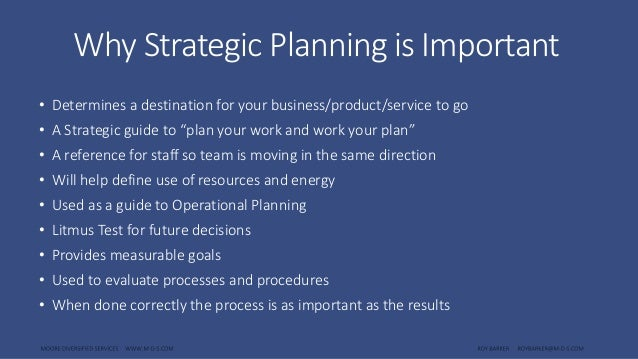strategic planning importance business planning