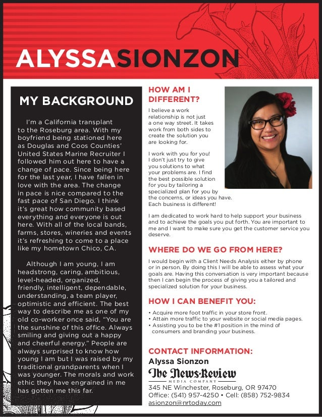 ALYSSASIONZON MY BACKGROUND 	 I'm a California transplant to the Roseburg area. With my boyfriend being stationed here as ...