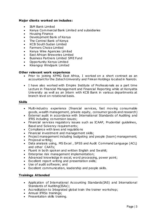 Best Kenya Accounting Resume Ideas - Best Resume Examples and ...