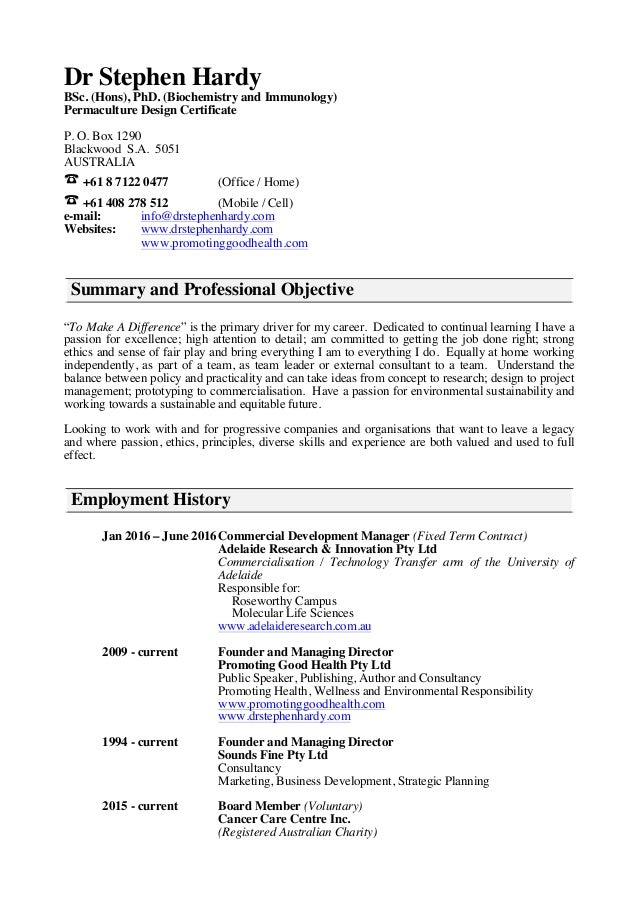 S Hardy - Curriculum vitae - Short Form - March 2016