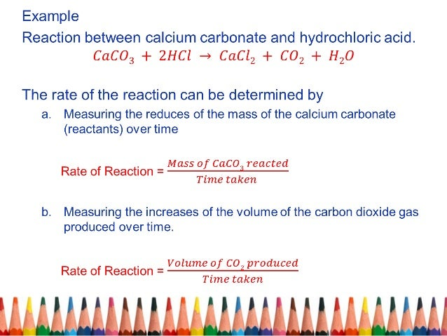 rate of reaction between calcium carbonate and hydrochloric acid