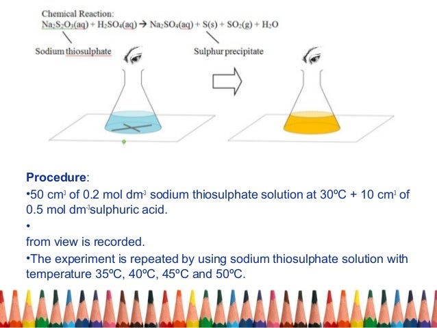 chemistry rate reaction coursework sodium thiosulphate The rate of the chemical reaction between dilute hydrochloric acid and sodium thiosulfate can be measured by looking at the rate of formation of solid sulfur.