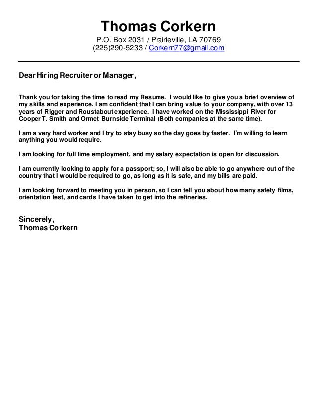 TC Cover Letter