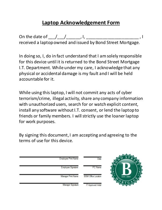 Acknowledgement form template Download