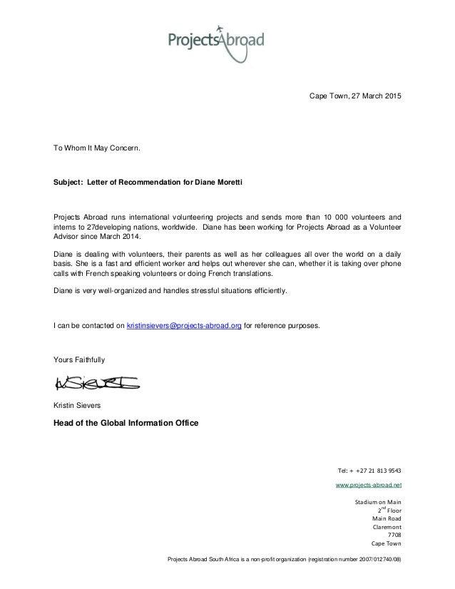 volunteer letter of recommendation