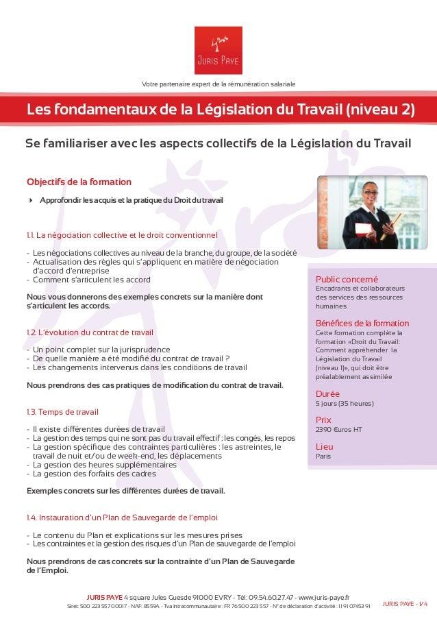 Votre partenaire expert de la rémunération salariale  Les fondamentaux de la Législation du Travail (niveau 2)  Se familia...