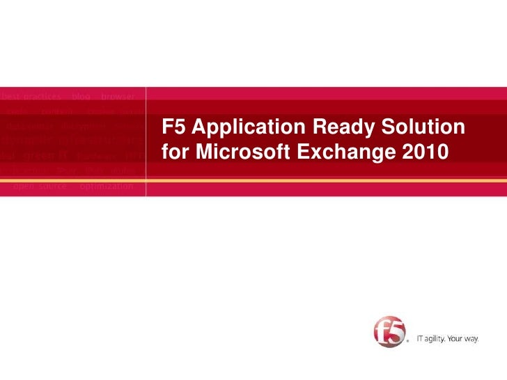 F5 Application Ready Solution for Microsoft Exchange 2010<br />