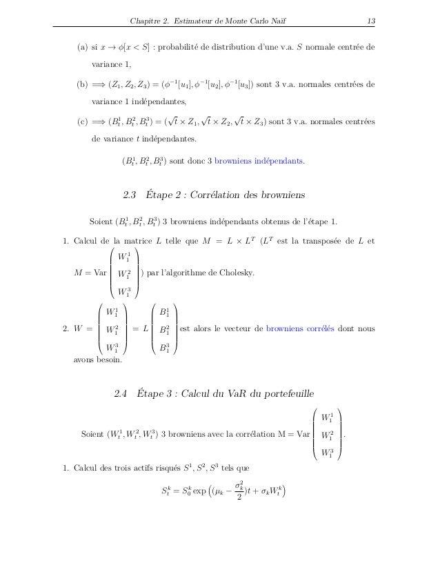 Chapitre 2. Estimateur de Monte Carlo Naïf 13 (a) si x → φ[x < S] : probabilité de distribution d'une v.a. S normale centr...