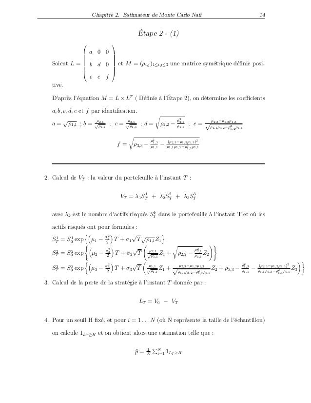 Chapitre 2. Estimateur de Monte Carlo Naïf 14 Étape 2 - (1) Soient L =         a 0 0 b d 0 c e f         e...