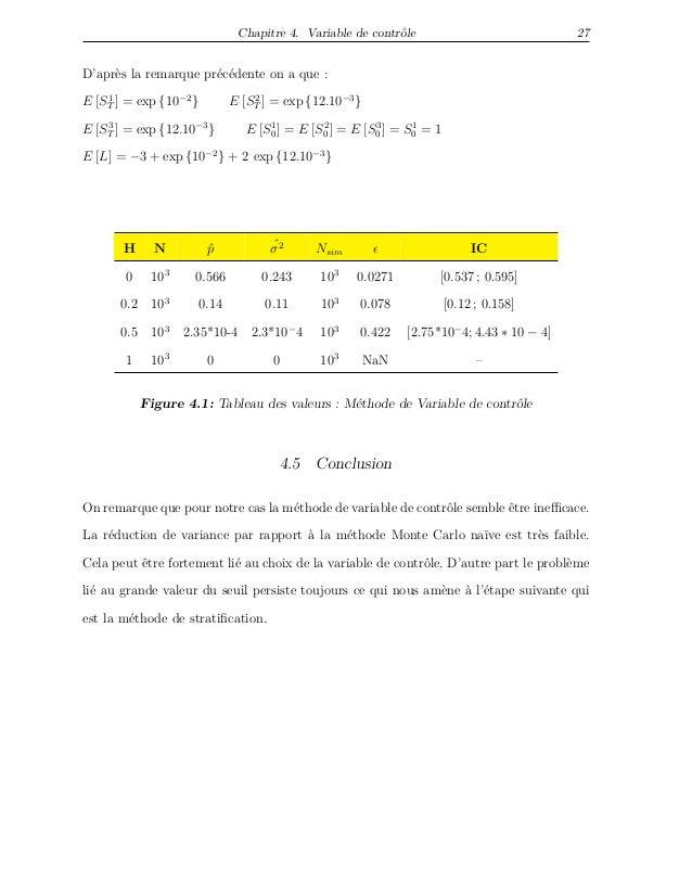 Chapitre 4. Variable de contrôle 27 D'après la remarque précédente on a que : E [S1 T ] = exp {10−2 } E [S2 T ] = exp {12....