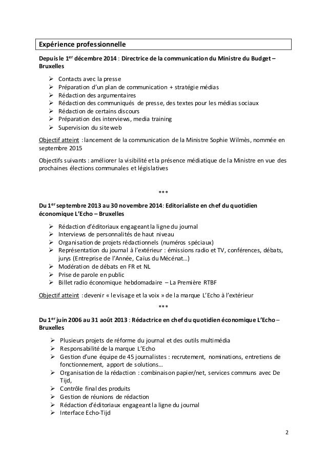 2 Expérience professionnelle Depuis le 1er décembre 2014 : Directrice de la communication du Ministre du Budget – Bruxelle...