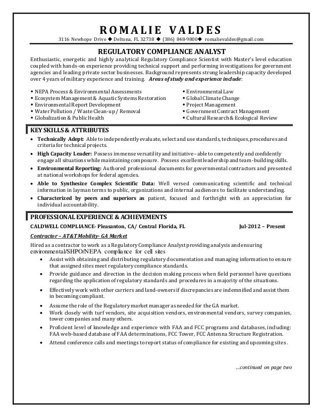 regulatory compliance a resume romalie valdes1