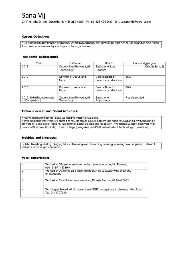 Sana Vij 24 FirelightStreet,SunnybankHillsQLD4109 · P: +61 426 428 046 · E: just.sanavij@gmail.com Career Objective: • To ...