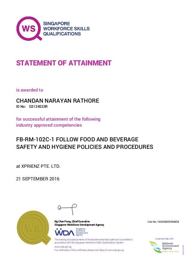 Chandan Food Hygiene Certificate