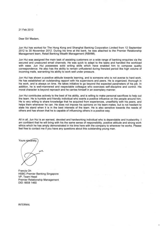 HSBC Internship Testimonial