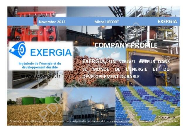 Novembre 2012 Michel LEFORT EXERGIA COMPANY PROFILE EXERGIA, UN NOUVEL ACTEUR DANS LE MONDE DE L'ÉNERGIE ET DU DÉVELOPPEME...
