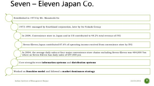 case analysis seven eleven japan co essay Seven-eleven japan co case study solution, seven-eleven japan co case study analysis, subjects covered distribution information management inventory management supply chain optimization by sunil chopra source: kellogg school of management 14.