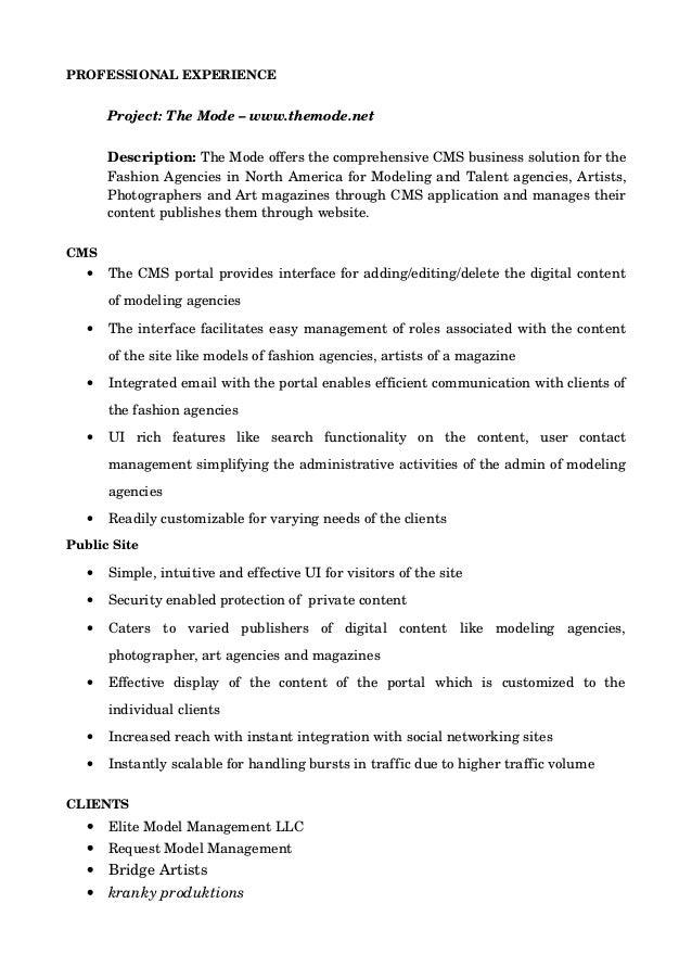 Exelent Elite Model Management Resume Festooning - Administrative ...
