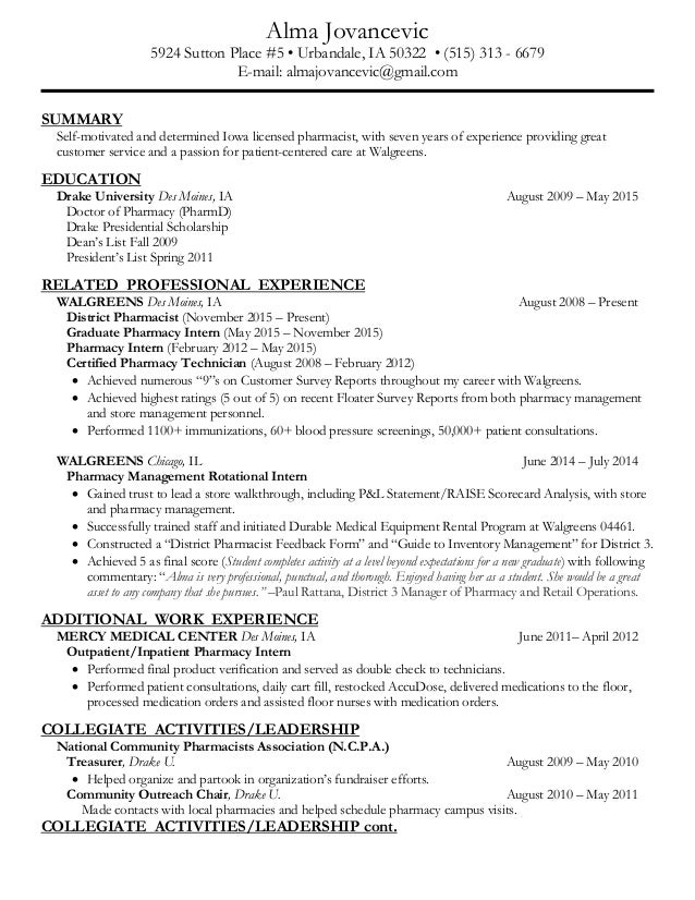 Walgreens Resume walgreens upload resume screenshot Resume Alma Jovancevic 5924 Sutton Place 5 Urbandale Ia 50322 515