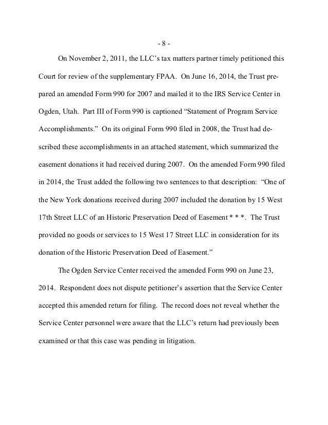 US tax court 15 West 17th - re charitable receipt cws and easement va…