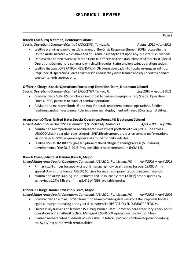 2 - Resume For Army Soldier