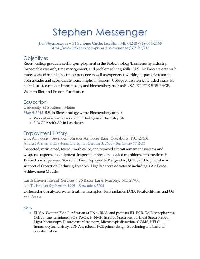 Messenger resume
