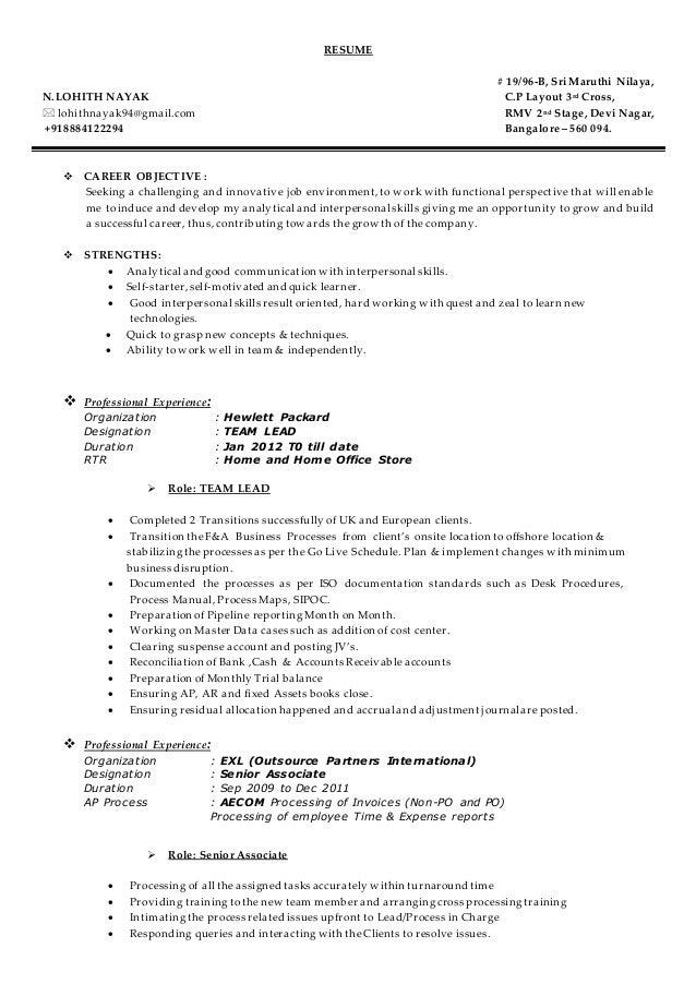 RESUME # 19/96 B, Sri Maruthi Nilaya, N.LOHITH NAYAK ...  Quick Learner Resume