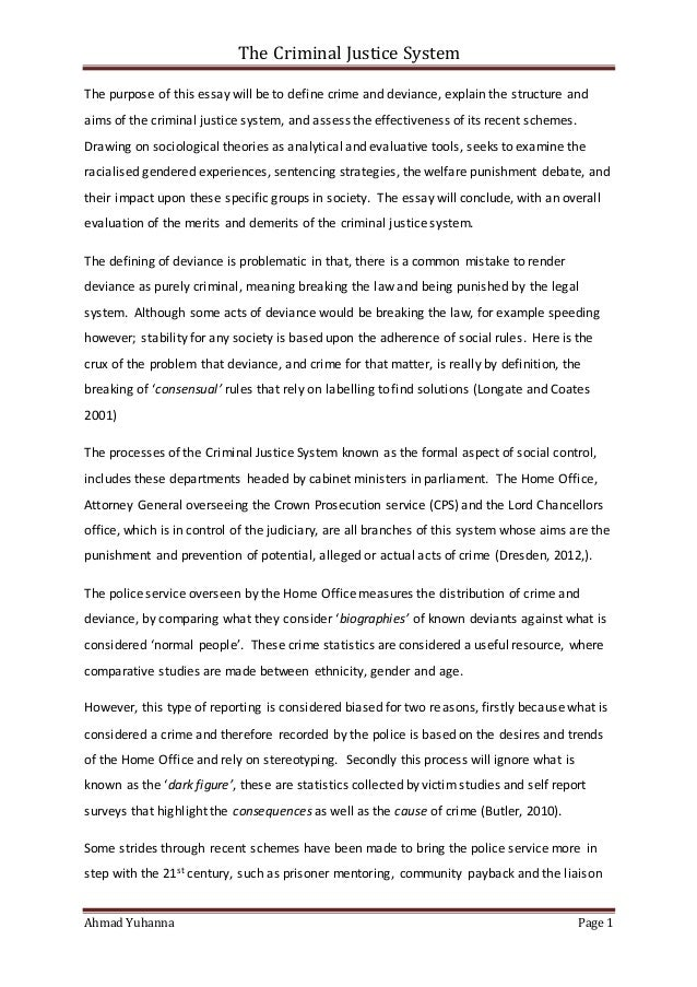 discrimination in the criminal justice system essay