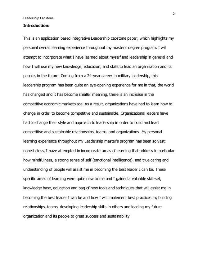 personal leadership essay examples