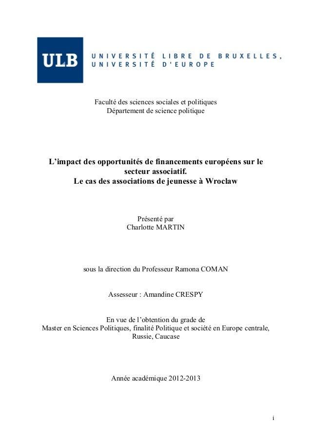 i            Faculté des sciences sociales et politiques Département de science politique L'impact des opportuni...