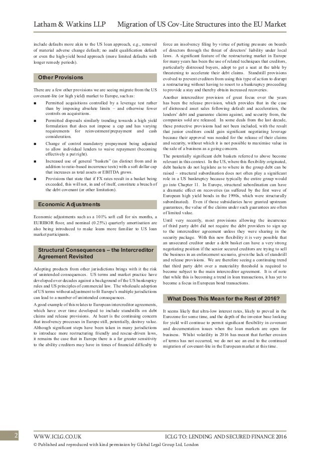 Us Covenant Lite European Leveraged Loan Market