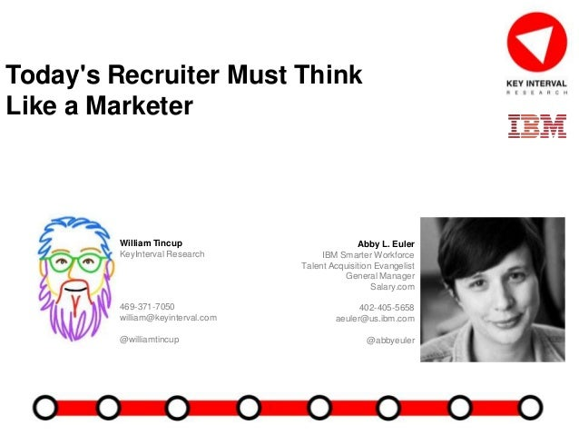 Today's Recruiter Must Think Like a Marketer Abby L. Euler IBM Smarter Workforce Talent Acquisition Evangelist General Man...