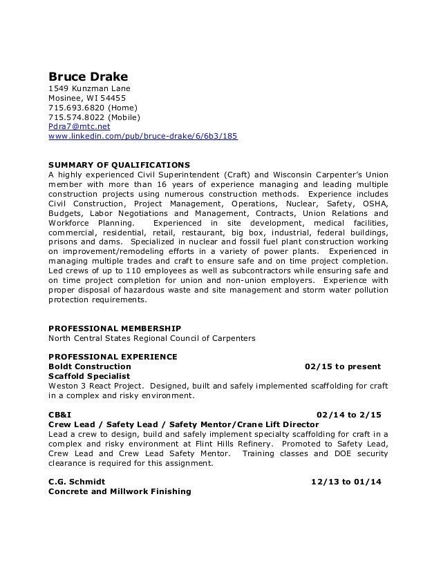 Bruce Drake Resume And Certifications. Bruce Drake 1549 Kunzman Lane  Mosinee, WI 54455 715.693.6820 (Home) 715.574 ...  Certifications On Resume