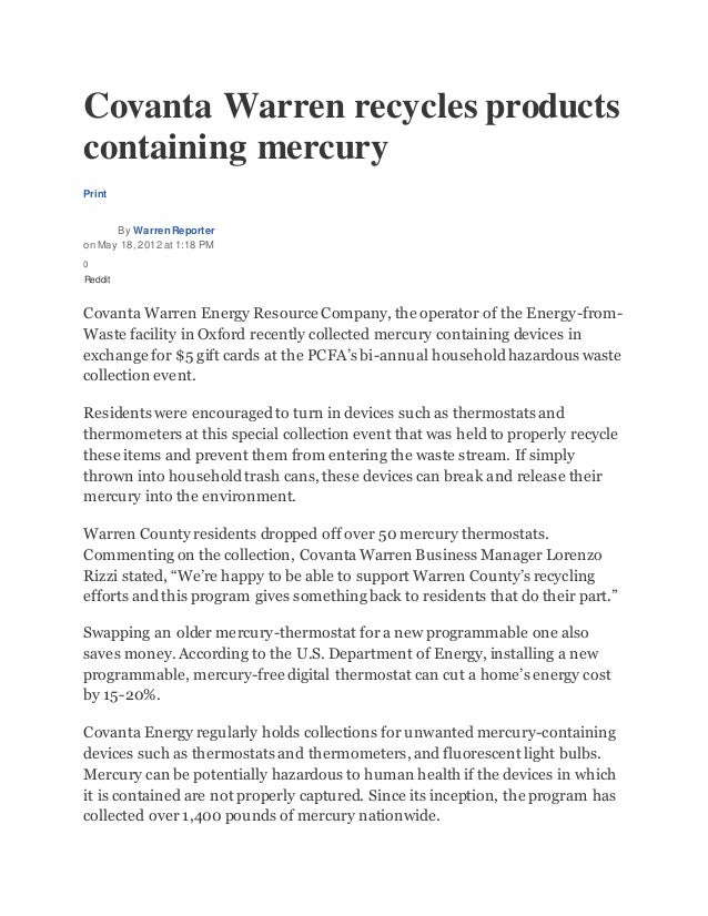 Covanta Warren recycles products containing mercury Print By WarrenReporter on May 18, 2012 at 1:18 PM 0 Reddit Covanta Wa...