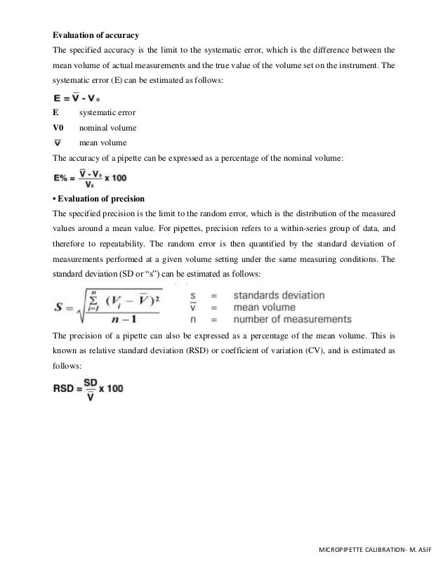 Pipette Calibration Worksheet Guidelines M Asif – Standard Deviation Worksheets