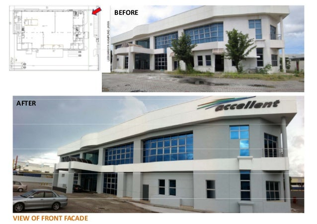 BEFORE  AFTER  VIEW OF FRONT FACADE