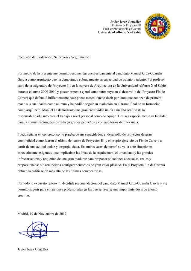 reference letter javier