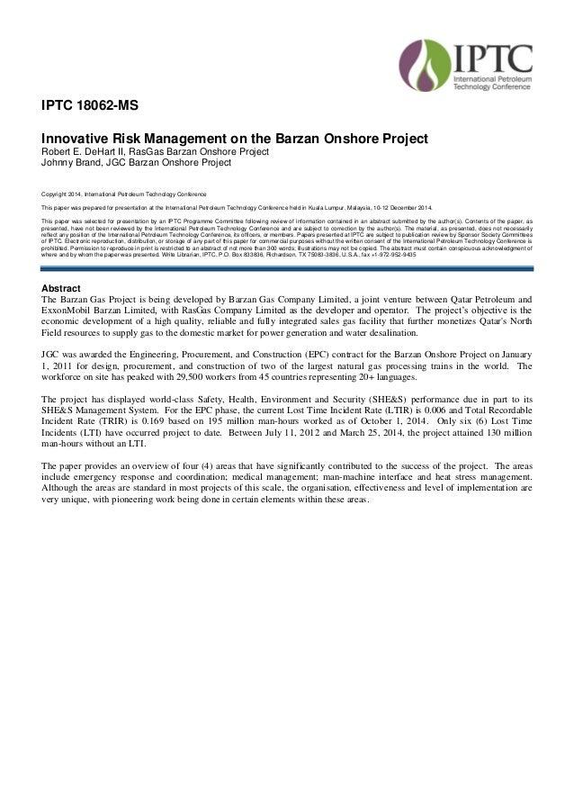 IPTC 18062-MS - Innovative Risk Management on the Barzan