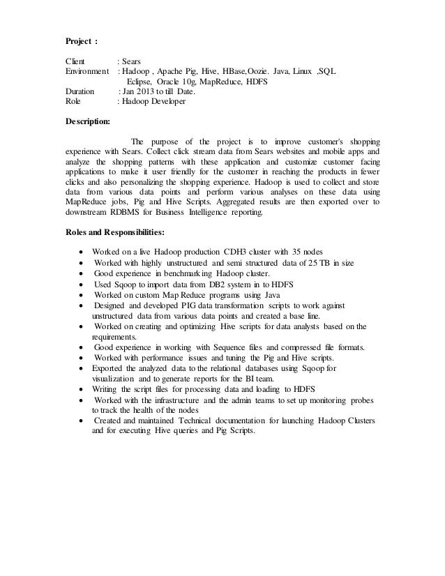 SlideShare  Hadoop Developer Resume