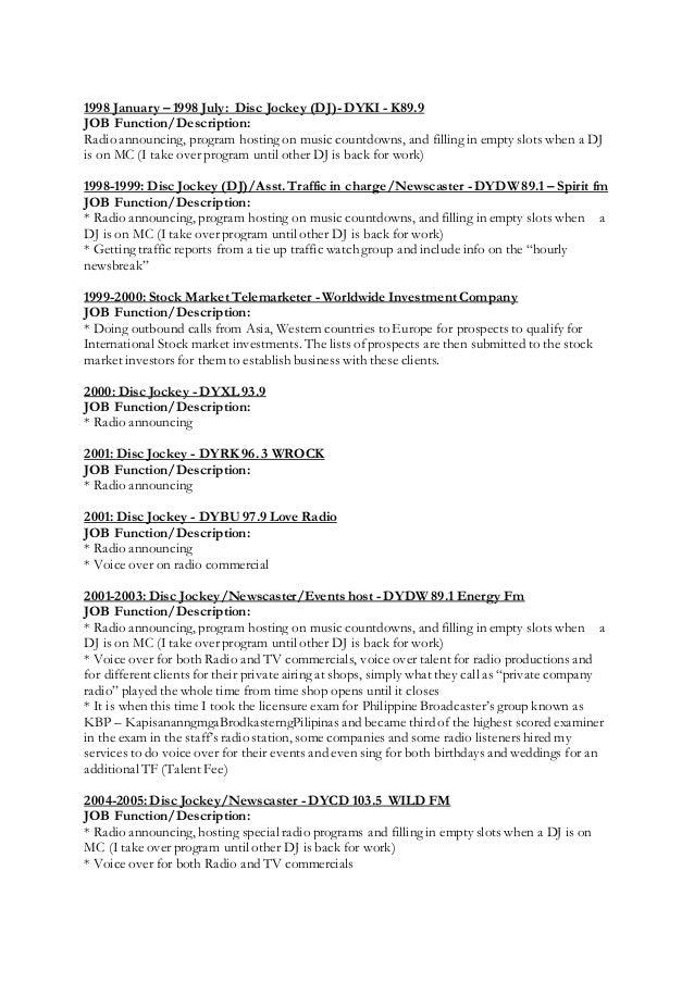 Disc Jockey Resume Adalah Latest Cv