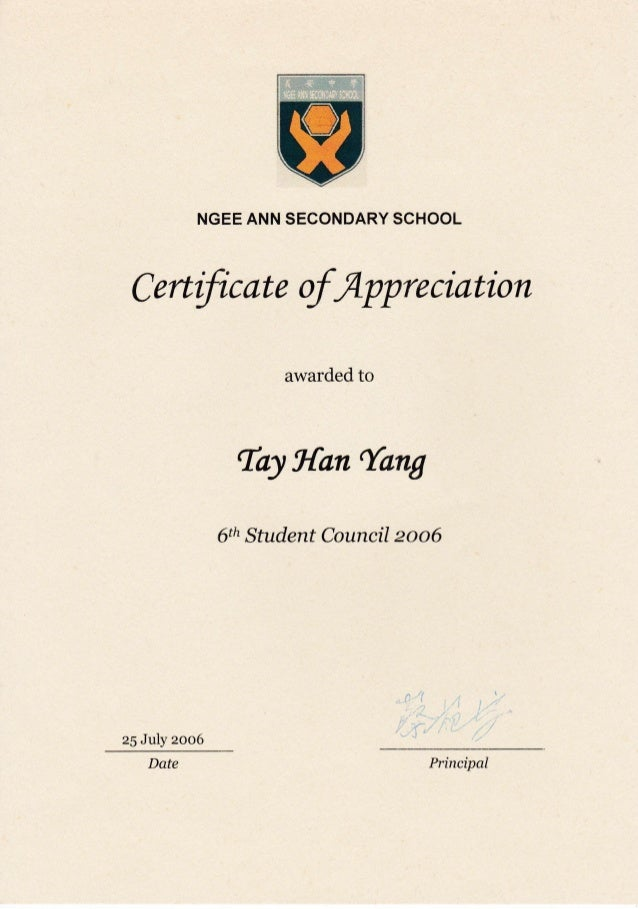 certificate of appreciation  nass 6th student council 2006